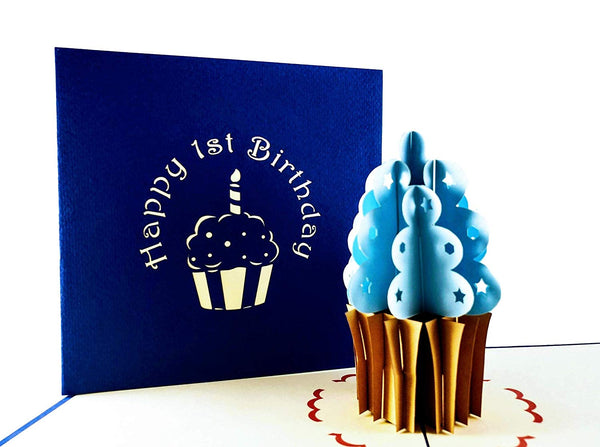 Blue Cupcake 1st Birthday 3D Pop Up Greeting Card 1