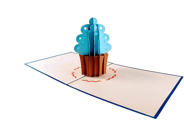 Blue Cupcake 1st Birthday 3D Pop Up Greeting Card 3