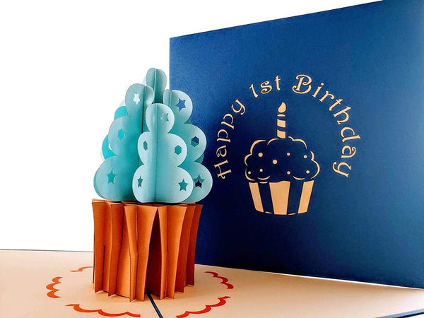 Blue Cupcake 1st Birthday 3D Pop Up Greeting Card 5