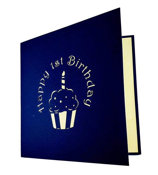 Blue Cupcake 1st Birthday 3D Pop Up Greeting Card 6