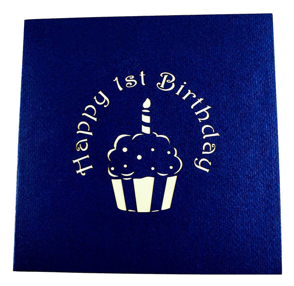 Blue Cupcake 1st Birthday 3D Pop Up Greeting Card 7