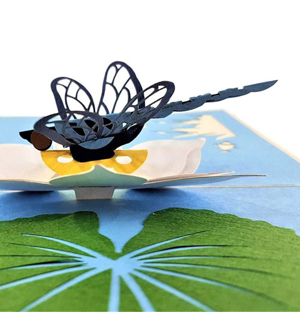 Blue Dragonfly 3D Pop Up Greeting Card 1 front