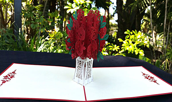 Red Rose Bouquet 3D Pop Up Greeting Card 2