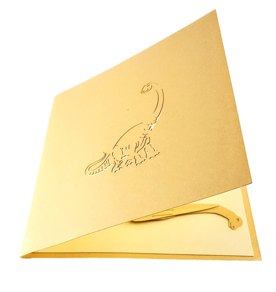 Long Neck Dinosaur 3D Pop Up Greeting Card 3
