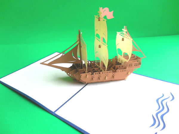 Brown Ship 3D Pop Up Greeting Card 2