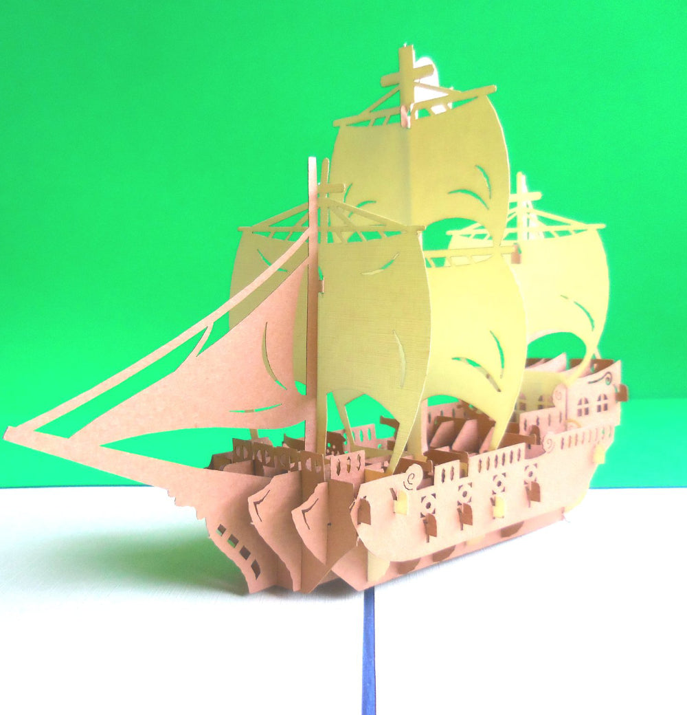 Brown Ship 3D Pop Up Greeting Card 1