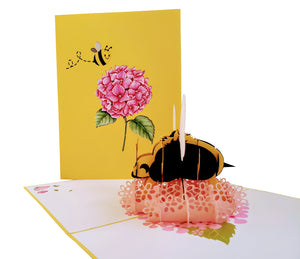 Happy Floral Bee 3D Pop Up Greeting Card