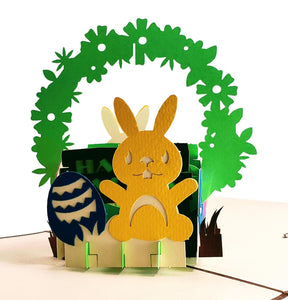 Bunny And Easter Eggs 3D Pop Up Greeting Card 1 front