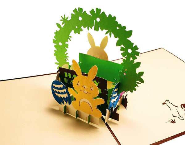 Bunny And Easter Eggs 3D Pop Up Greeting Card 1