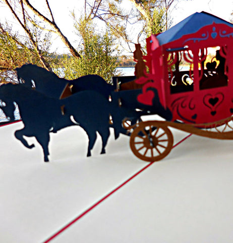 Carriage 3D Pop Up Greeting Card 1