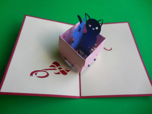 Cats in Box 3D Pop Up Greeting Card 2