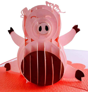 Chinese New Year Pig 3D Pop Up Greeting Card 1 front
