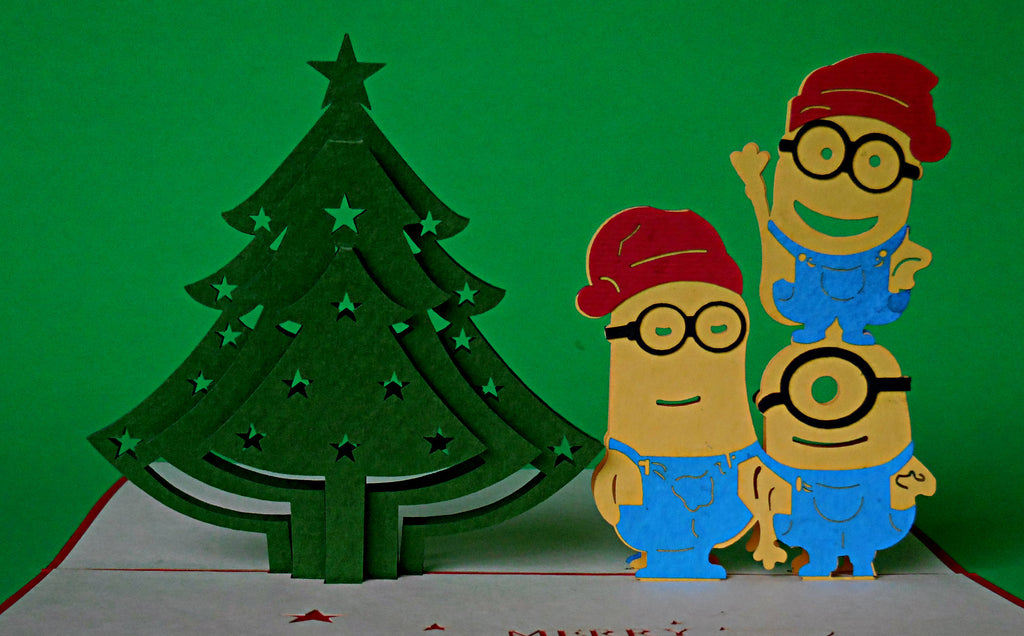 minions with christmas tree 3d pop up greeting card - Minions Christmas Tree