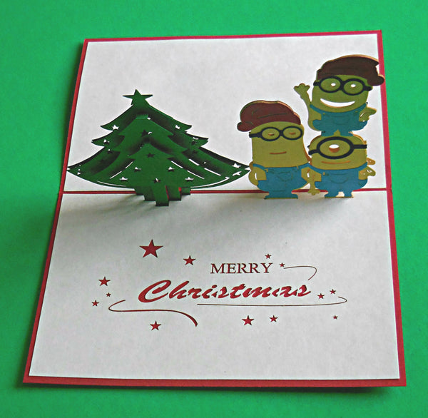Minions with Christmas Tree 3D Pop Up Greeting Card 3