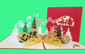 Magical Christmas Scene 3D Pop Up Greeting Card