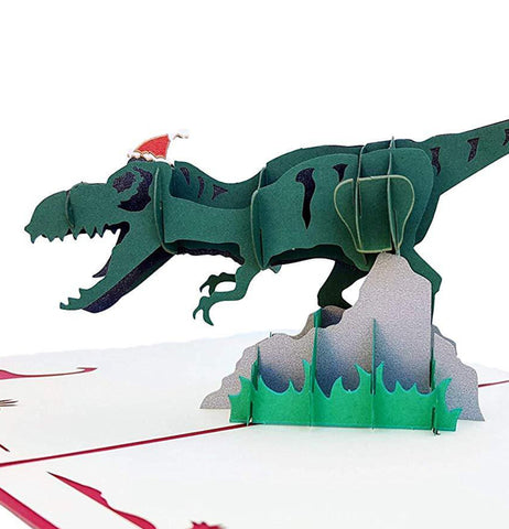 Christmas Dinosaur 3D Pop Up Greeting Card 1 front