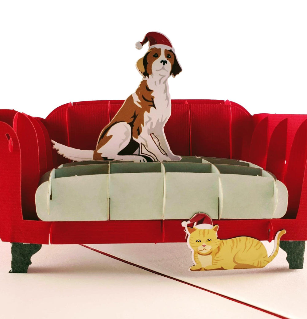 Christmas Dog and Cat 3D Pop Up Greeting Card 1 front