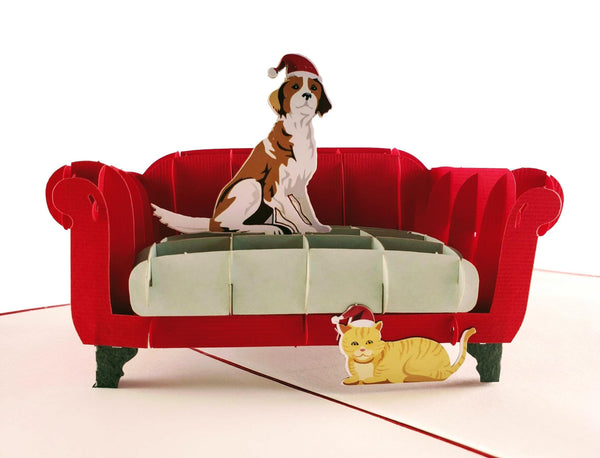 Christmas Dog and Cat 3D Pop Up Greeting Card 1