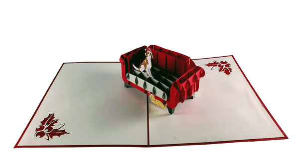 Christmas Dog and Cat 3D Pop Up Greeting Card 2