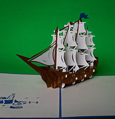 Clipper 3D Pop Up Greeting Card 1 front