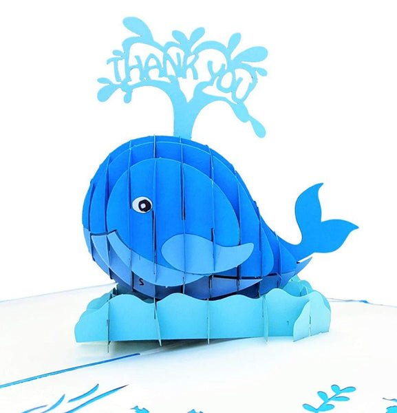 Cute Blue Whale Thank You 3D Pop Up Greeting Card 1 front