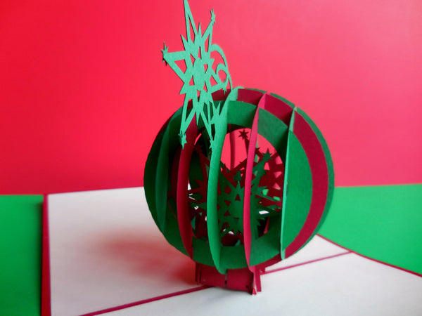 Holiday Ornament 3D Pop Up Greeting Card 2