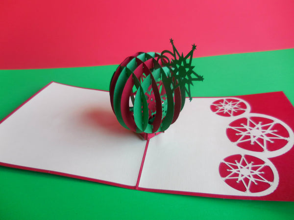 Holiday Ornament 3D Pop Up Greeting Card 3