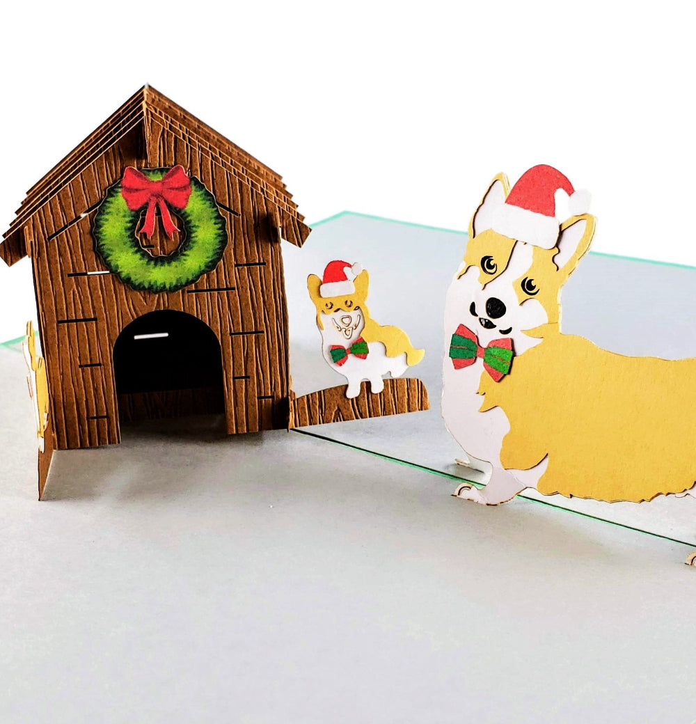 Corgi Family Christmas 3D Pop Up Greeting Card 1 front
