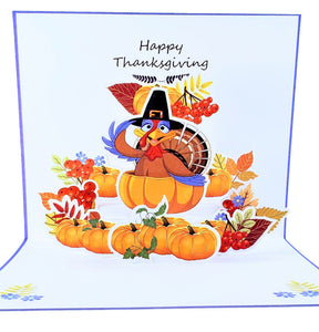 Happy Thanksgiving Turkey 3D Pop Up Greeting Card 1 front