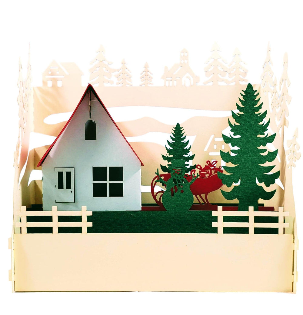 Country Cottage 3D Pop Up Centerpiece 1 front
