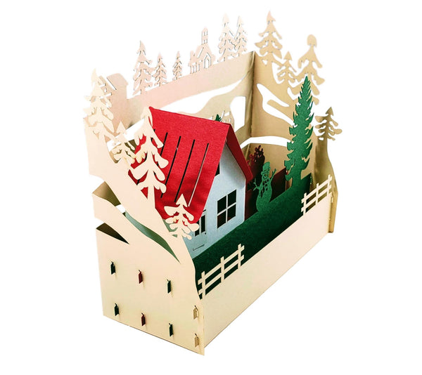 Country Cottage 3D Pop Up Centerpiece 3