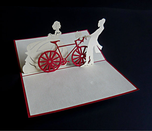 Couple With Bike 3D Pop Up Greeting Card 2