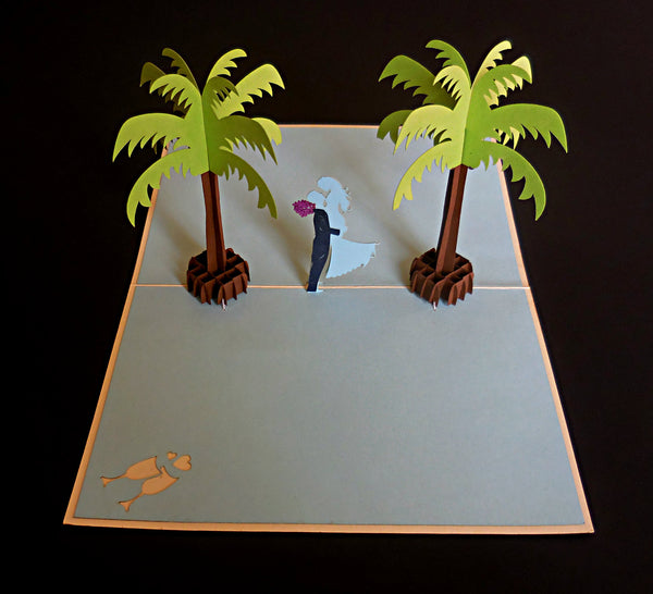 Couple in Paradise 3D Pop Up Greeting Card