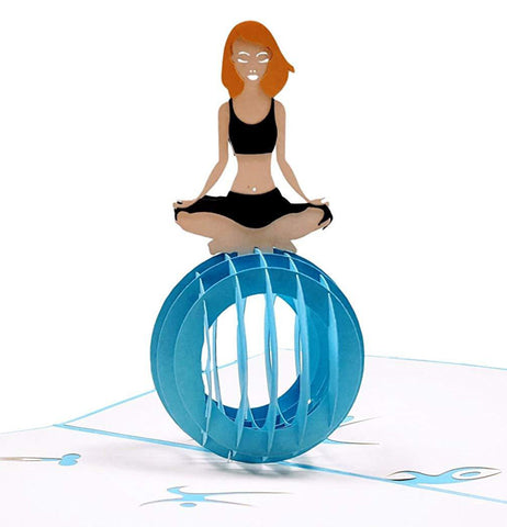 Cute Yoga Lady 3D Pop Up Greeting Card 1 front