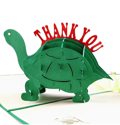 Cute Turtle Thank You 3D Pop Up Greeting Card 1 front
