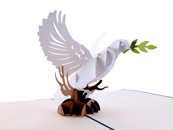 Dove With Olive Branch 3D Pop Up Greeting Card 2