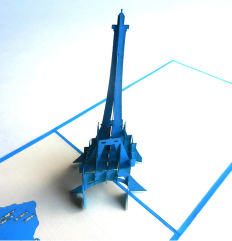 Eiffel (Blue) 3D Pop Up Greeting Card 1