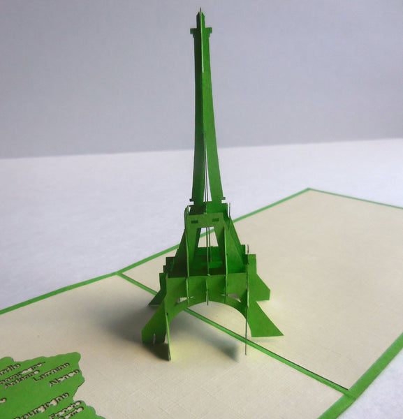 Eiffel (Green) 3D Pop Up Greeting Card 1 front