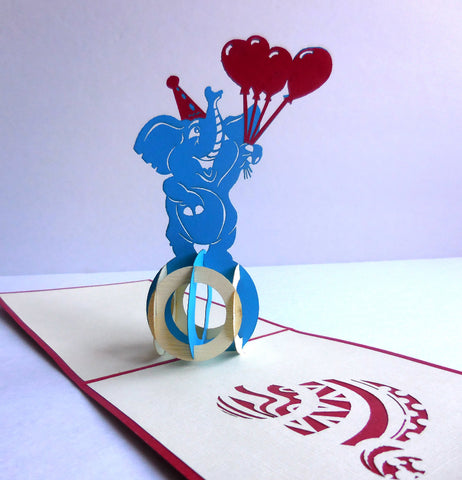 Elephant Balloons 3D Pop Up Greeting Card 1