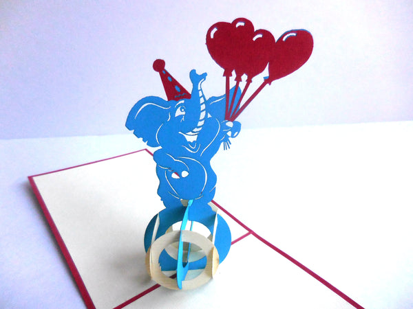 Elephant Balloons 3D Pop Up Greeting Card 2