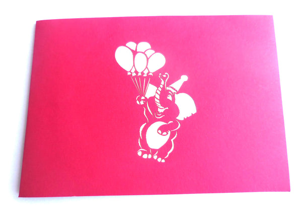 Elephant Balloons 3D Pop Up Greeting Card 3