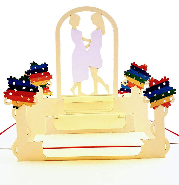 Lesbian Couple Celebration 3D Pop Up Greeting Card 1 front