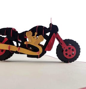 Fancy Red Motorcycle 3D Pop Up Greeting Card 1 front