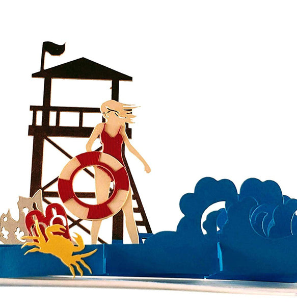 Female Lifeguard on Duty 3D Pop Up Greeting Card 1 front