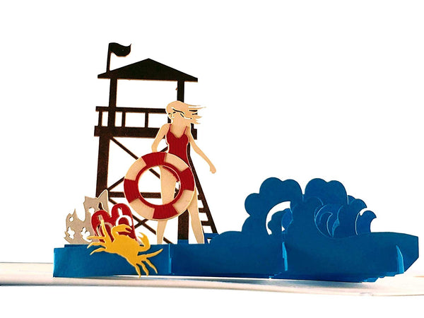 Female Lifeguard on Duty 3D Pop Up Greeting Card 1