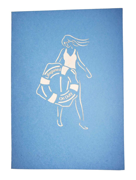 Female Lifeguard on Duty 3D Pop Up Greeting Card 8
