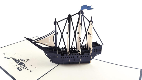 Clipper Ship 3D Pop Up Greeting Card 6