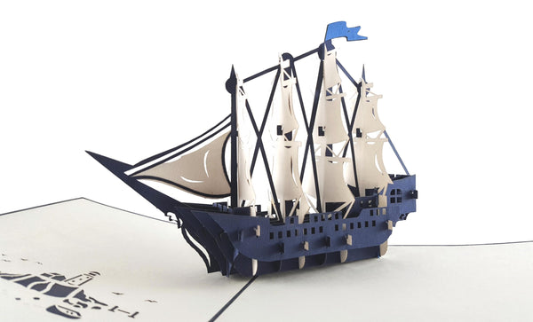 Clipper Ship 3D Pop Up Greeting Card 2