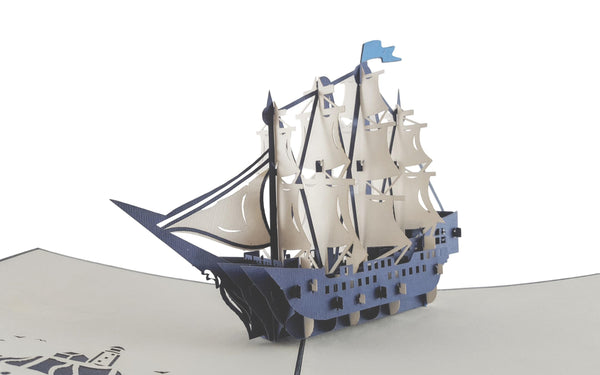 Clipper Ship 3D Pop Up Greeting Card 4