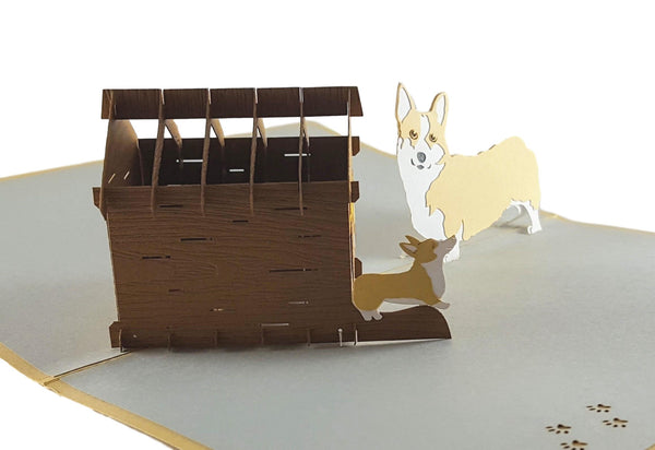 Mama Corgis N Puppies Pop Up Greeting Card 3